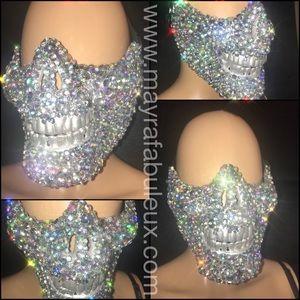 AB Crystalized Half Skeleton Mask, Halloween Mask